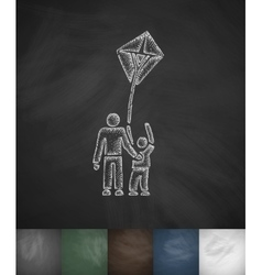 People and kite icon hand drawn vector