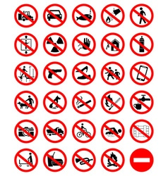 Prohibition symbol set vector image vector image