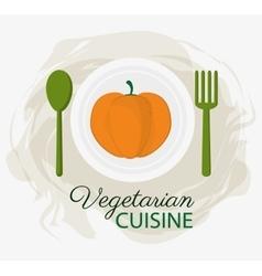 Pumpkin vegetarian cuisine organic food plate and vector