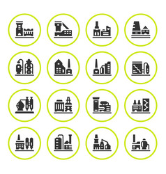 set round icons of factory vector image vector image
