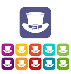 Top hat with buckle icons set flat vector