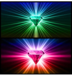 Two Colorful diamonds on bright backgrounds vector image vector image