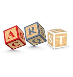 Word art written with alphabet blocks vector