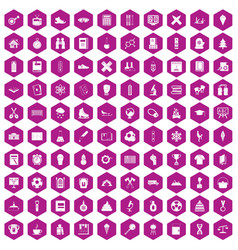 100 school years icons hexagon violet vector image
