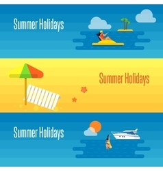 Summer holidays banner with beach umbrella vector