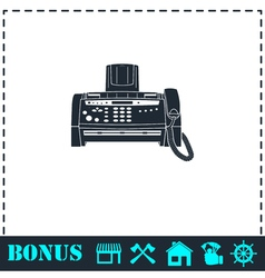 Fax machine icon flat vector