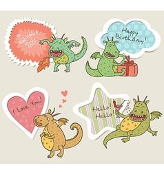 Speech bubbles with dragon vector