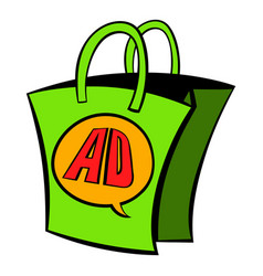 Shopping bag with ad letters icon cartoon vector