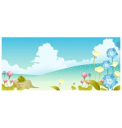 Landscape flowers and sky vector