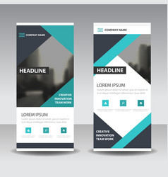 Blue black triangle business roll up banner vector