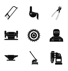 metal industry icon set simple style vector image