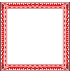 Unique knitted frame with geometric ornament vector