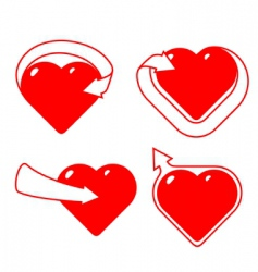 set hearts with arrows vector image