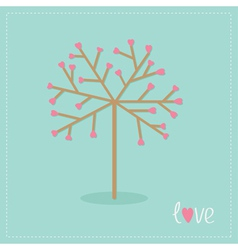 Love tree with hearts and word love flat design vector