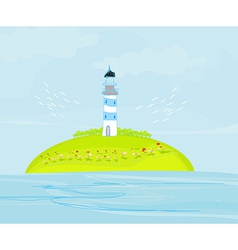 Lighthouse on the island vector