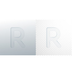 3d paper cut letter r isolated on transparent vector