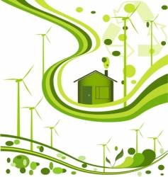 Wind farm background vector