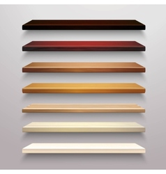 Wooden shelves set vector