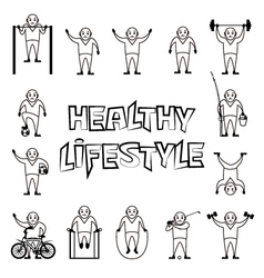 People healthy lifestyle icons set vector