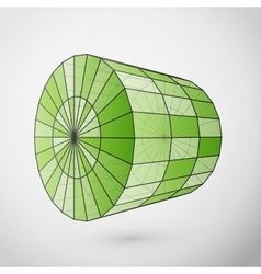 Wireframe cylinder polygonal element vector