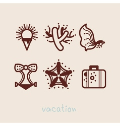 Summer holidays icon collection vector