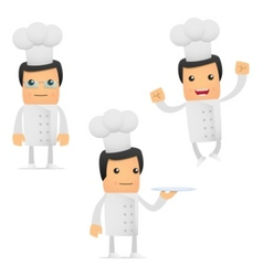 Set of funny cartoon chef vector
