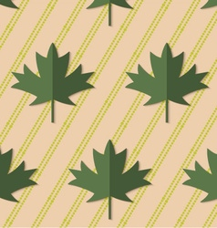 Retro fold deep green maple leaves on diagonal vector