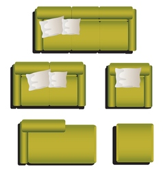 Furniture top view set 29 vector