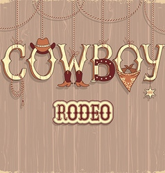 Cowboy rodeo text background vector image