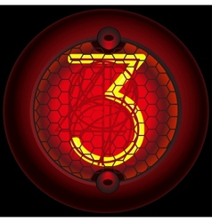 Digit 3 three nixie tube indicator vector
