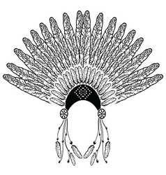 Headdress with decorative and plain feathers vector
