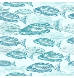 Seamless pattern with sketches of fish vector