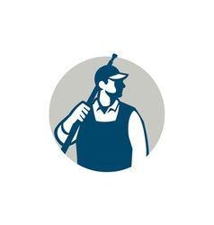 Pressure washer worker circle retro vector