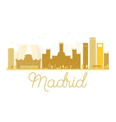 Madrid city skyline golden silhouette vector