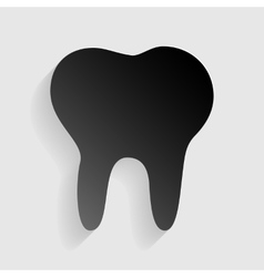 Tooth sign  black paper with shadow vector