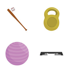 a bat with a ball for baseball a weight for vector image vector image