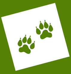 Animal tracks sign white icon obtained as vector