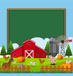 Border template with many farm animals vector