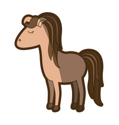 brown clear silhouette of cartoon female horse vector image