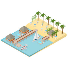 bungalow on sea coast isometric view vector image
