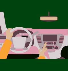 car inside the driver presses the buttons vector image vector image
