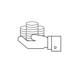 Coins on hands line icon vector