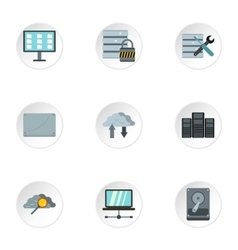 Computer setup icons set flat style vector