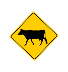 Cow warning sign vector