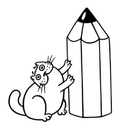 Cute fat cat and big pencil isolated vector