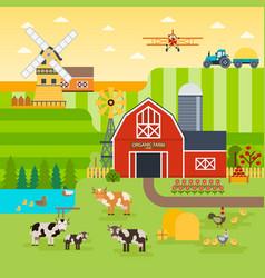 farm flat landscape organic food concept vector image