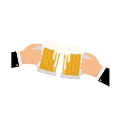 glasses of beers in the hands icon design vector image vector image