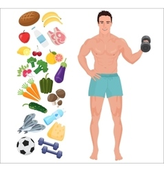 Handsome sport health man lifestyle infographic vector