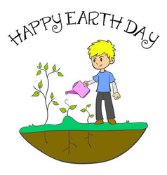 Happy earth day with cild and plant vector