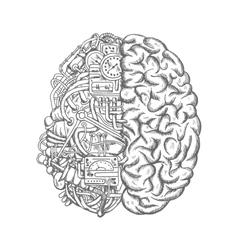 Human brain mechanism engine gears sketch vector